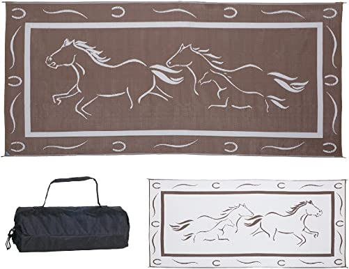Stylish Camping GH8187 Brown White 8-Feet x 18-Feet Galloping Horses Mat