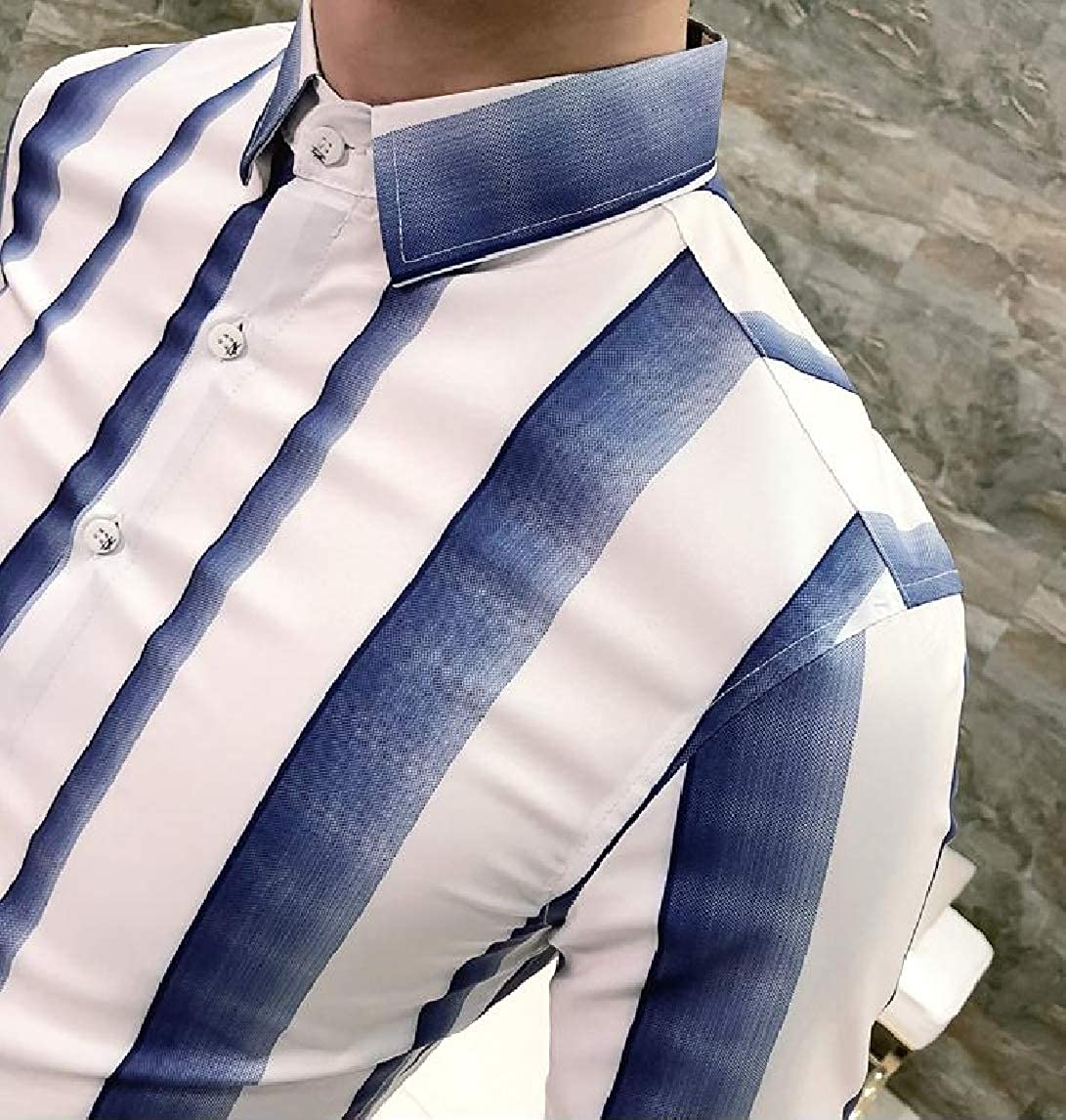 Mfasica Mens Striped Long Sleeve Ombre Peaked Collar Fit Dress Shirts