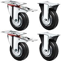 4 stuks transportwielen, Ø125 mm, zwenkwielen, wieltjes, wieltjes voor zware lasten 2 vaste wiel 125 mm en 2 zwenkwielen…