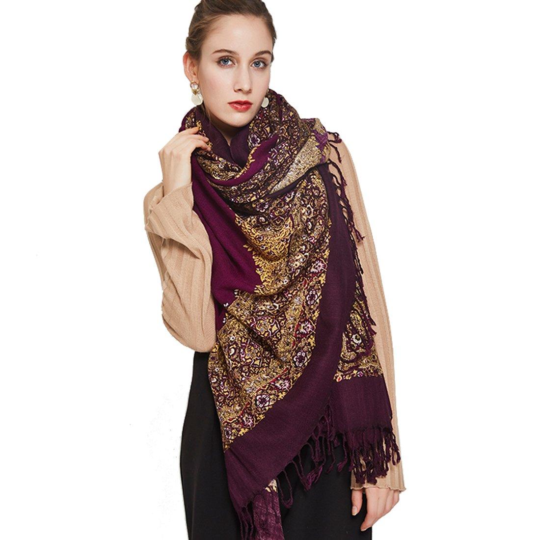 DANA XU 100% Pure Wool Women Winter Large Size Pashmina Travel Shawl (Purple)