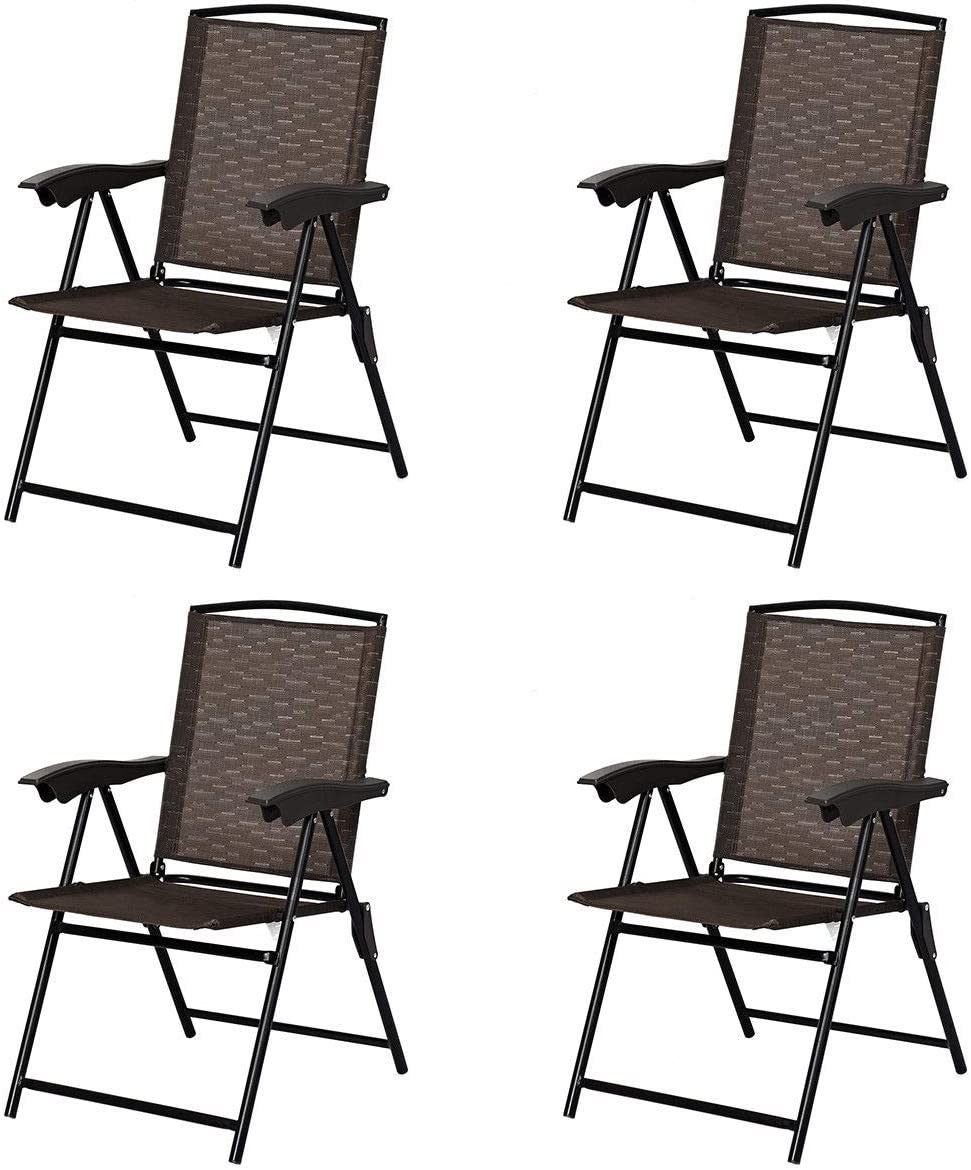 Giantex Set of 4 Patio Folding Chairs, Adjustable Sling Back Chairs with Armrest, Patio Dining Chairs Portable for Camping Garden Pool Beach, Deck Lounge Chairs Brown