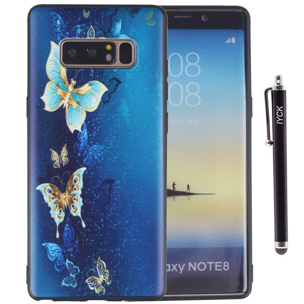 Galaxy Note 8ケース、Note 8ケース、iYCK 3dエンボス加工カラフルアートデザイン超スリム薄型柔軟なソフトゴムTpu保護バックカバーケースfor Samsung Galaxy Note 8 ブルー IYCK2302  Golden Butterfly B075FLZZTC