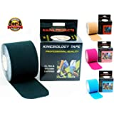 Kinesiology Tape with Free Taping E-Guide - 16ft Uncut Roll - Best Pain Relief for Muscles, Shin Splints, Plantar Fasciitis, Knee & Shoulder - Water Resistant Theraputic Aid