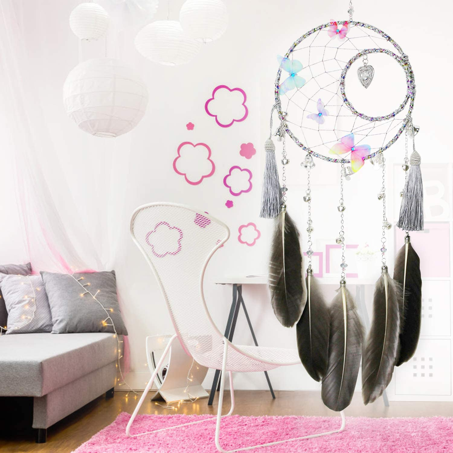 Indians Traditional Art Wall Hanging Home Decoration Handmade Exquisite Feather Beaded Dream Catcher for Kids//Cars//Bedroom SIKEMAY Dream Catcher