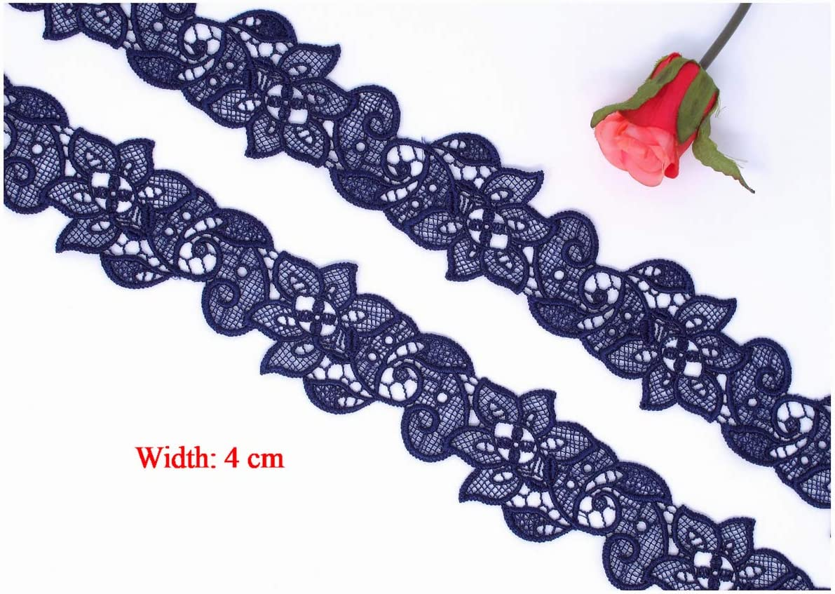 MoMos Little Shop Beautiful Dark Navy Blue Guipure Venise Floral Galloon Lace Trim Edging Width: 4 cm 1 Metre