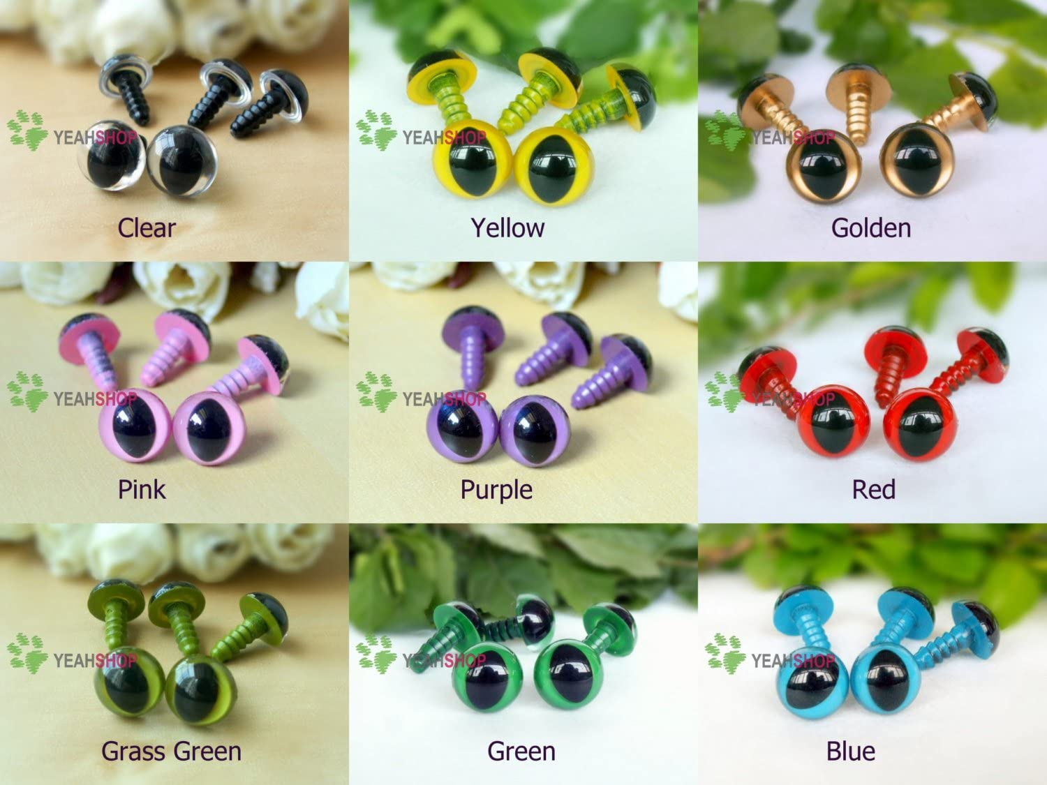 12mm Safety Eyes Plastic Eyes Plastic Craft Safety Eyes for Cat//Stuffed Doll Animal Amigurumi DIY Accessories Grass Green 20 Pairs