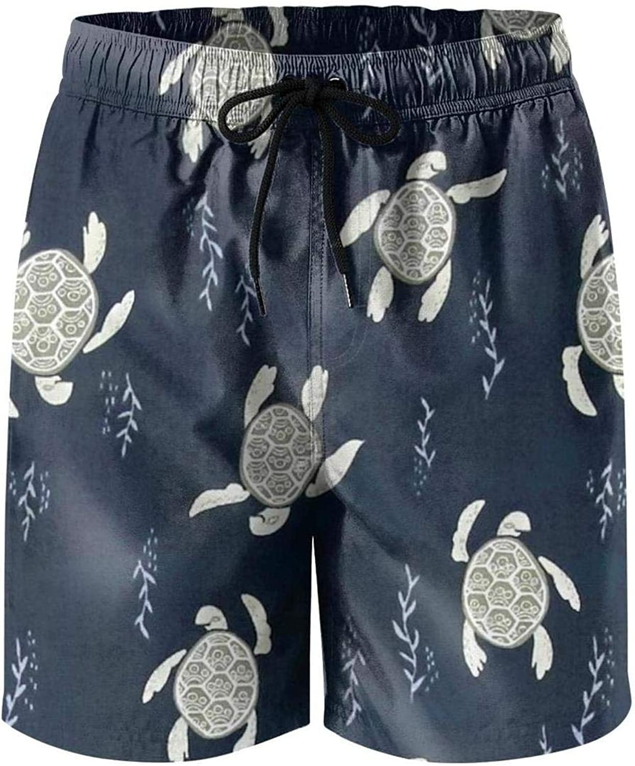 Navy Whales Pattern Young Men Swimming Trunks Summer Personalized Quick Dry Swim Trunks