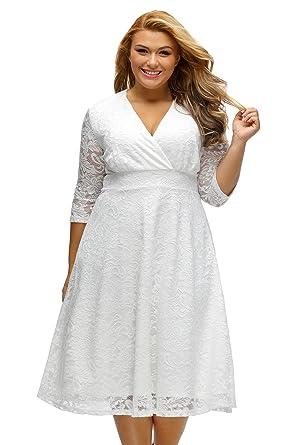 Shopall Women\'s Elegant Surplice Lace Crisscross V Neck Plus Size Formal  Swing Dress
