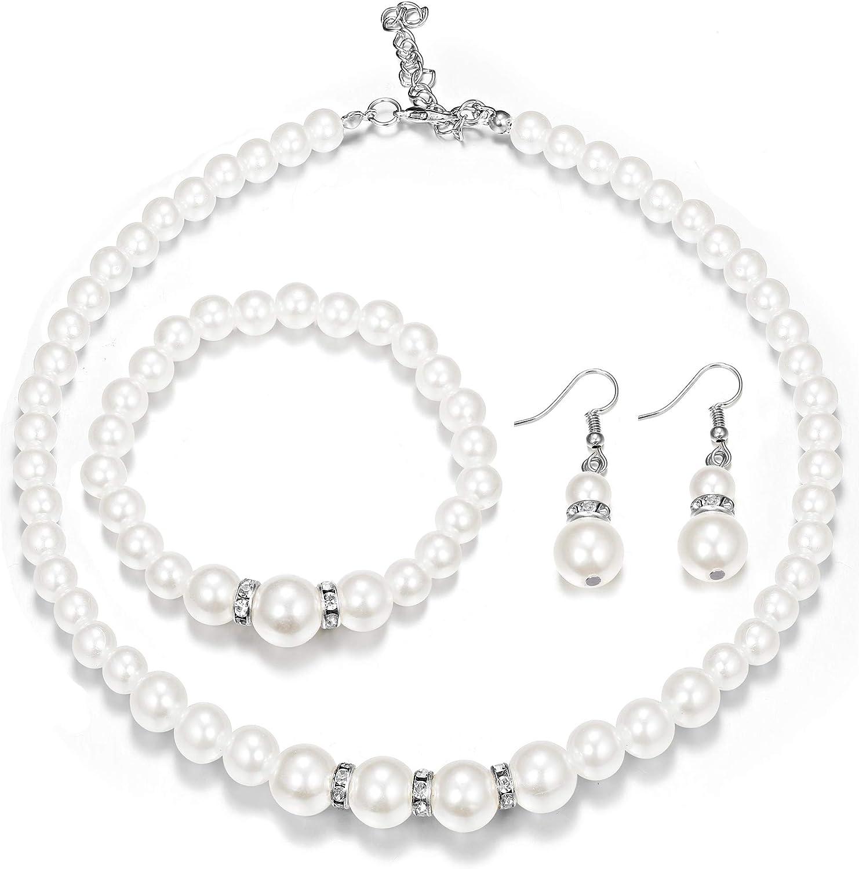 Finrezio Perla Artificial Collar de Cristal Collar Pendientes Pulsera Conjunto de Joyas para Mujeres la Boda Joyería Nupcial