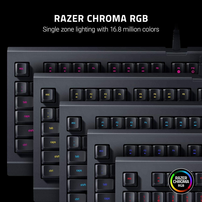 Razer Cynosa Lite - Teclado Gaming Esencial con iluminación Razer Chroma con LED RGB, USB, Teclas de Membrana, UK /US Layout, Negro