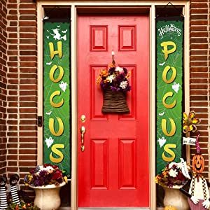 chokeberry Halloween Decorations Outdoor - Hocus Pocus Halloween Porch Decor Banners, Witches Hanging Banners for Indoor Home Front Door Wall, 600D Fabric Party Decorations, Set of 2