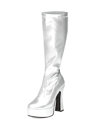 9e8c4bea3 Silver Gogo Boots - Womens Silver Patent Retro Knee High Platform Boots (9)