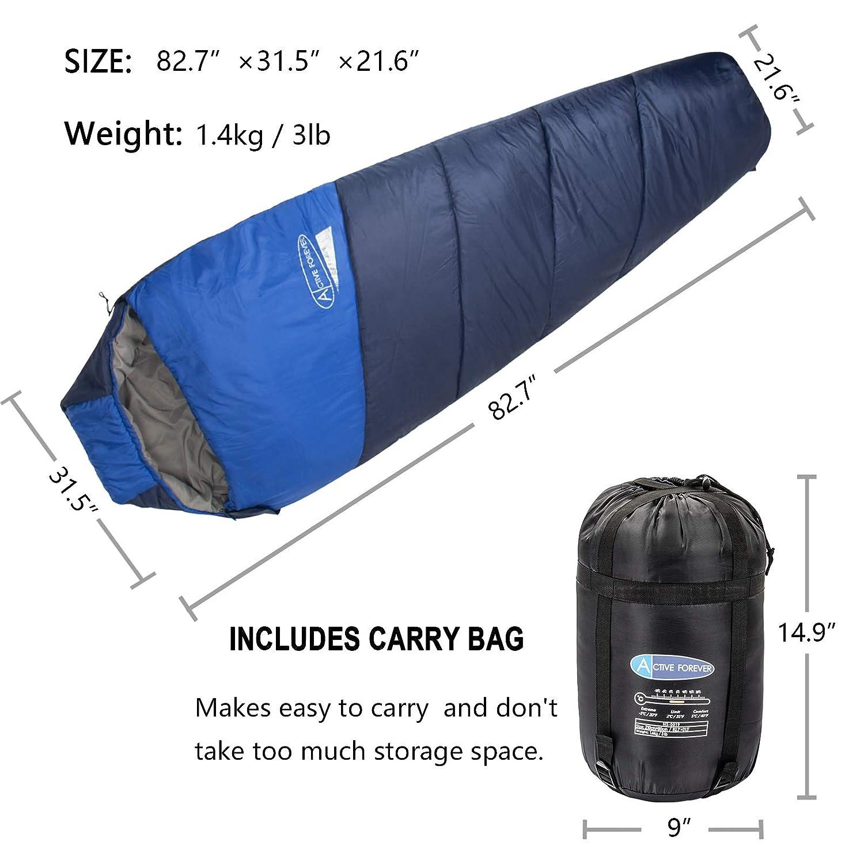 Turismo y Actividades al Aire Libre en Invierno 210 * 80 * 55 cm Ideal para Acampar Caminar Active Forever Saco de Dormir de Momia Ligero de Sarga Premium de poli/éster 210T Azul Real