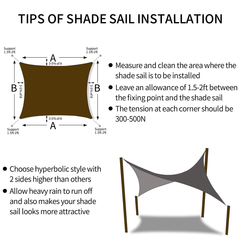 Tuosite Terylene Waterproof Sun Shade Sail UV Blocker Sunshade Patio Equilateral Square Knitted 220 GSM Block Fabric Pergola Carport Awning 65x 65 in Color Beige