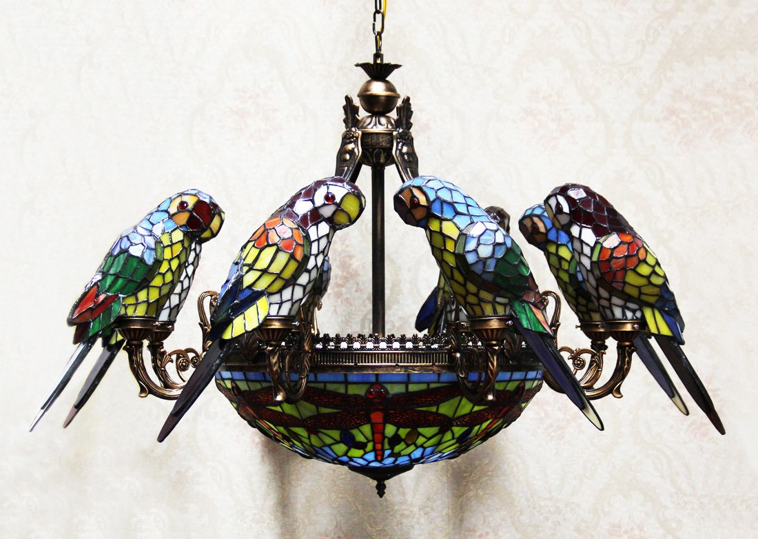 Makenier tiffany style stained glass baroque vintage 20 inches makenier tiffany style stained glass baroque vintage 20 inches dragonfly 8 arms parrot big chandelier amazon arubaitofo Images