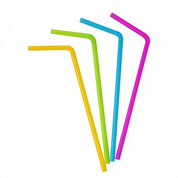2 Set of 100 Flexible Drinking Straws Assorted Pastel Colors