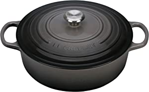 Le Creuset of America L2545-227FSS 2.75 qt. Shallow Stainless Steel Knob-Oyster Cast Iron Dutch Oven, 2.75qt