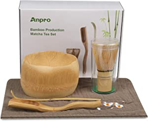 Anpro Bamboo Matcha Tea Whisk Set, Bamboo Whisk Holder Handmade Matcha Ceremony Starter Kit For Traditional Japanese Tea Ceremony