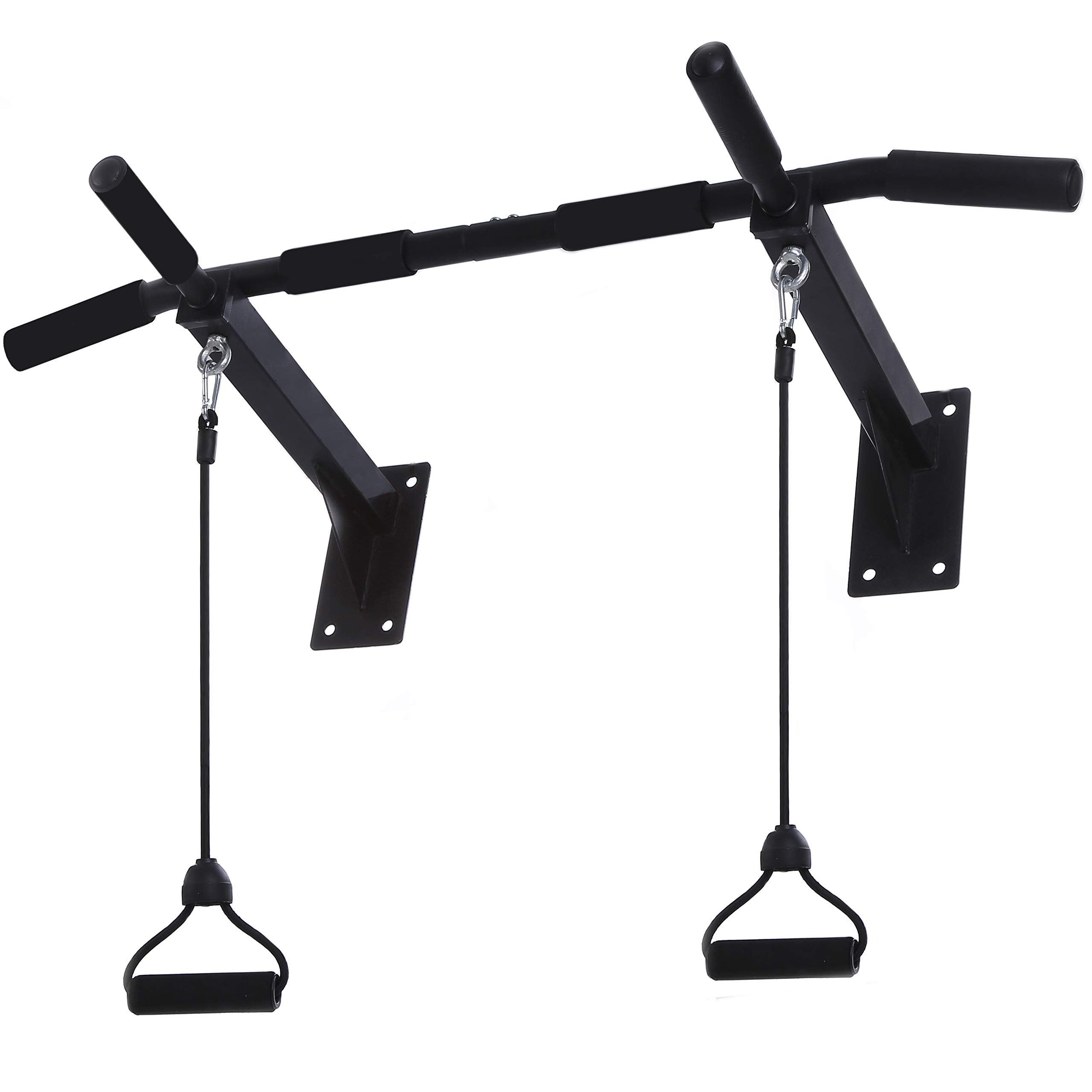 Wall Mounted Pull Up Bar - Upper Body Workout Bar with 4 Grip Positions, Resistance Band Workout Equipment