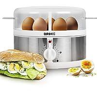 Duronic EB35 Eierkocher, für 1 bis 7 Eier - Härtegradeinstellung und Timer, Eier auf 2 verschiedene Arten gleichzeitig vorbereiten - Inklusive Messbecher und Eierstecher