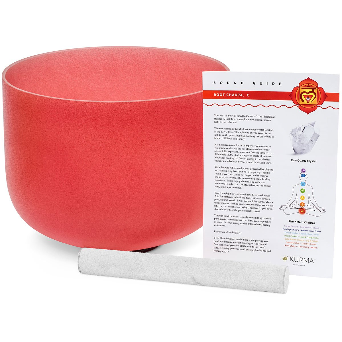 Red 432 hz Root Chakra Crystal Singing Bowl C Note, Suede Mallet Included, Highest Quality Sound and Material (10 Inch Outer Color) Kurma Yoga