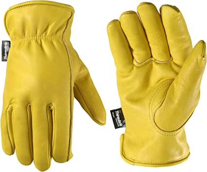 FULLY FLEECE LINED LEATHER WORK GLOVES DRIVERS//COLD WORK MENS SIZE 10//XL