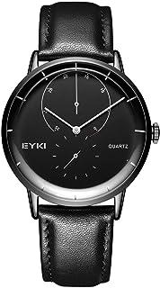 Mens Leather Wrist Watches - VOEONS 2017 New Design, Unique Analog Quartz Watches for Men