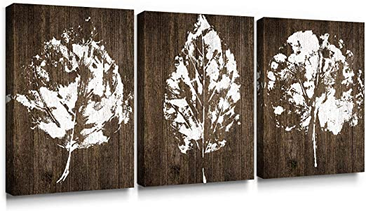 SUMGAR Canvas Wall Art Bedroom Rustic Decor 3 Piece Framed Paintings White  Pictures Brown Leaf Prints Artwork,12x16 inch