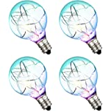 Cymas G40 Globe Bulbs,Screw Base Light Bulbs, G40 Replacement LED Light Bulbs,Clear Glass,Multi Color,1.5-Inch,Pack of 4