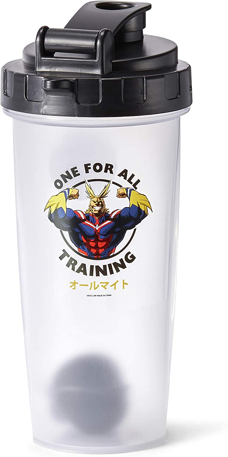 JUST FUNKY My Hero Academia All Might Training Gym Shaker Bottle | Perfect for Protein Shakes, Pre & Post-Workout Blends, & More | Includes Mixing Ball