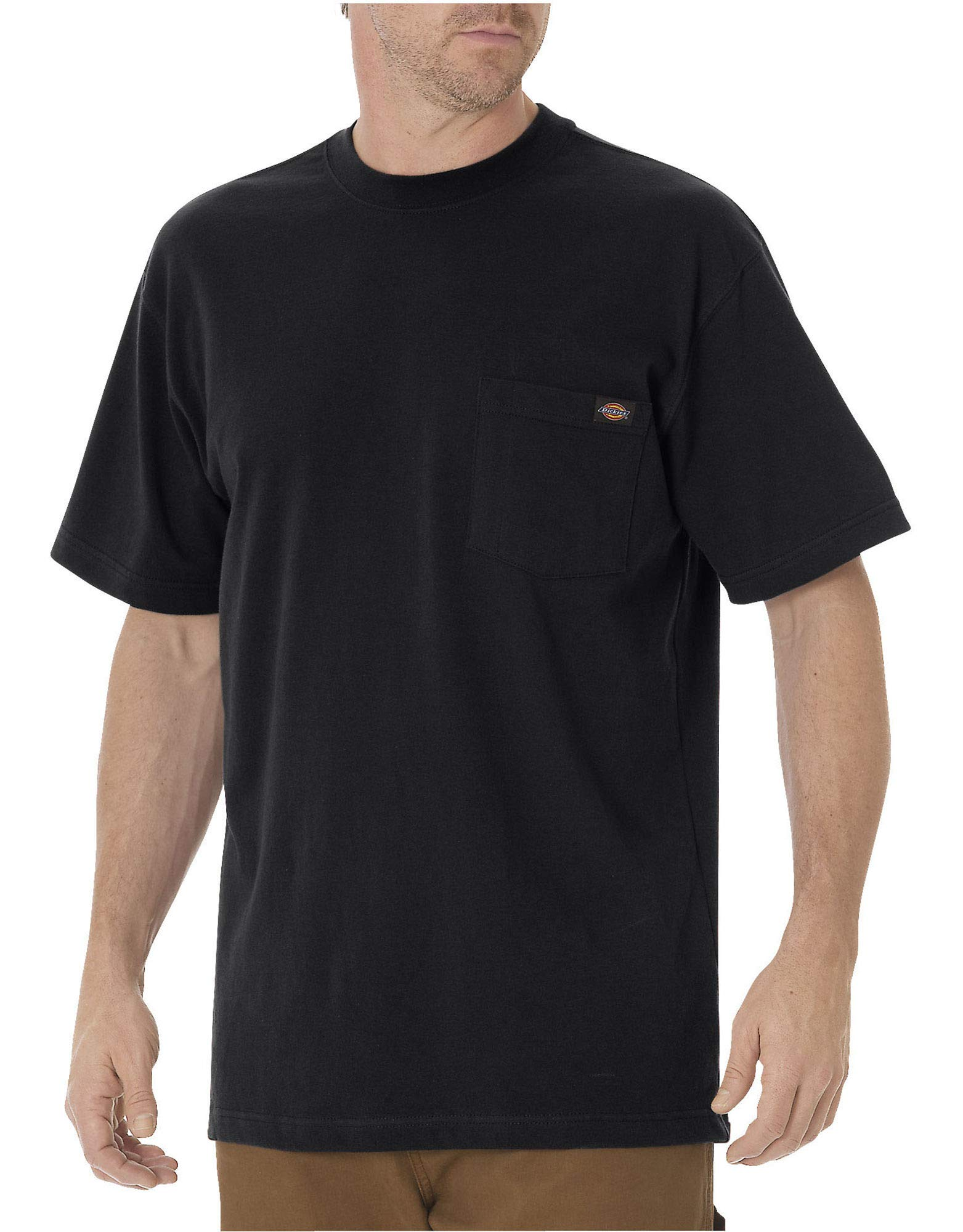 Dickies Men's Heavyweight Crew Neck Shirt, Black, Large (2 Pack)