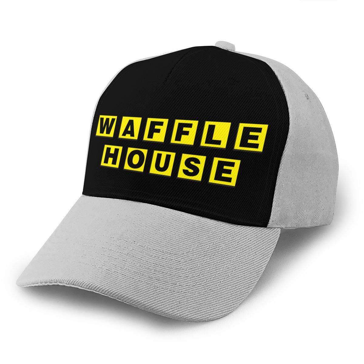 Adjustable Women Men Waffle-House-Logo Print Baseball Cap Flat Brim Cap Hats Hip Hop Snapback Sun Hat Boys Girls Gray by Apolonia
