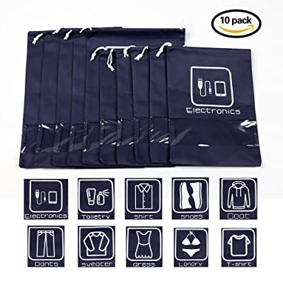 10 Pack No-Woven Dual Drawstring Organizer Bags, Shoe Bags, Toiletry Bags