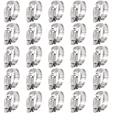 Keadic 25Pcs Adjustable Fuel Line Clips Worm Gear Hose Clamp Assortment Kit for Various Pipes Automotive Mechanical Use…