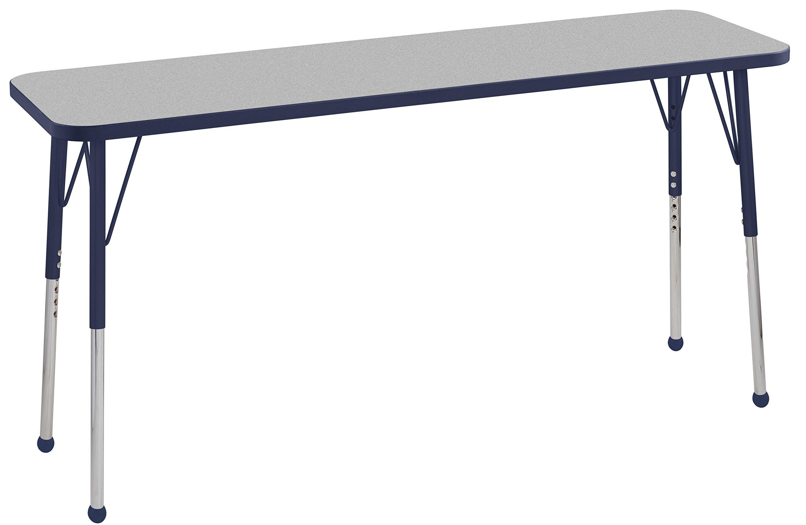 ECR4Kids Everyday T-Mold 18'' x 60'' Rectangular Activity School Table, Standard Legs w/Ball Glides, Adjustable Height 19-30 inch (Grey/Navy)