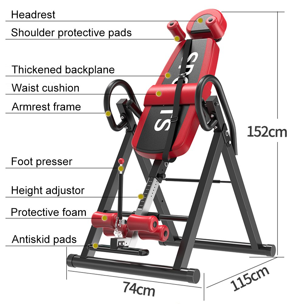 Yoleo Gravity Heavy Duty Inversion Table with Adjustable Headrest & Protective Belt (Red) by Yoleo (Image #6)