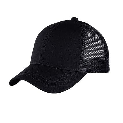 Amazon.com  ATIMIGO Chic Black Ponytail Baseball Cap Hat Ponycap Messy High  Bun Ponytail Adjustable Mesh Trucker Baseball Cap Hat for Women Men Girl   ... a45284eaf4