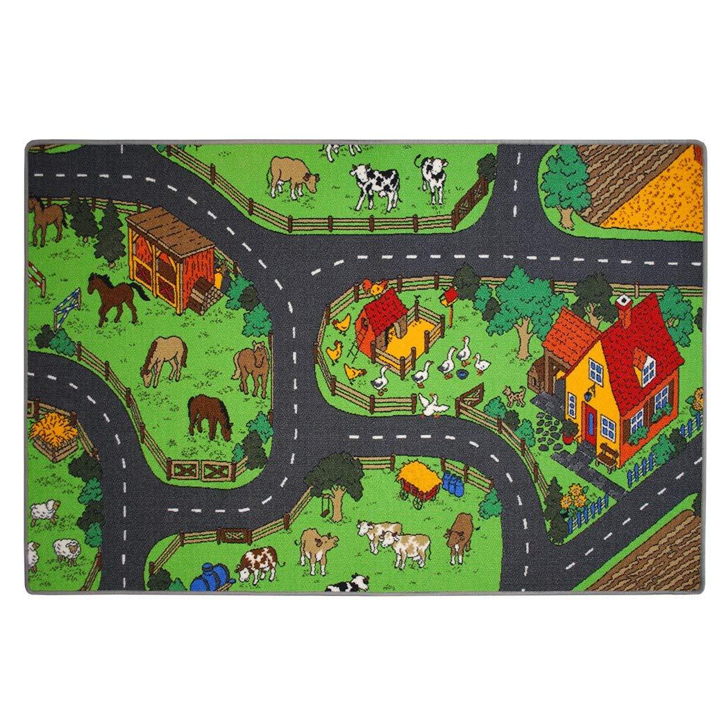 Kinderteppich Bauernhof - Spielteppich Jungen Mädchen schadstoffgeprüft TÜV-geprüft   pflegeleicht antistatisch strapazierfähig robust kein Flusen   Kinderzimmer Spielzimmer , Farbe Multicolor, Größe 200 x 250 cm