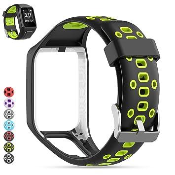 MOGOI Tomtom Correa de Reloj, Correa de Silicona de Repuesto para Reloj Deportivo GPS Tomtom Runner 2/ Runner 3/ Spark 3/ Adventurer/Golfer 2 GPS ...