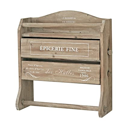 Homes On Trend Wooden Brown Medium Size Cling Film Tin Foil And Kitchen Roll Dispenser Wood Wall Unit Shabby Vintage Style Spice Rack Condiment Holder