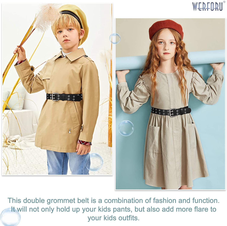 Details about  /KIDS CHILDREN BOYS GIRLS 2 HOLES ROW GROMMETS Stitched Canvas Fabric Web Belt