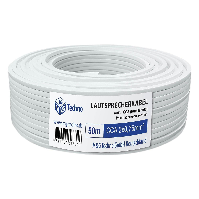 CCA 50m Lautsprecherkabel 2x4mm/² Boxenkabel wei/ß mit Metermarkierung in bew/ährter M/&G Techno-Qualit/ät rechteckig