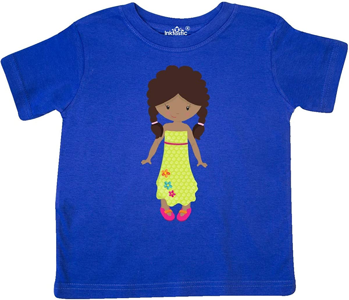 inktastic African American Girl Fashion Girl Green Dress Toddler T-Shirt
