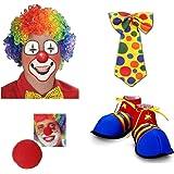 5319b3105 Prextex Halloween Super Clown Accessories Set (4 Pc) Colorful Clown Wig,  Red Foam