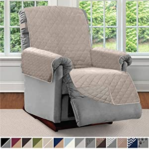 SOFA SHIELD Original Patent Pending Reversible Recliner Slipcover, 2 Inch Strap Hook Seat Width Up to 28 Inch Washable Furniture Protector, Slip Cover Throw for Pets, Kids, Recliner, Lt Taupe Lt Taupe