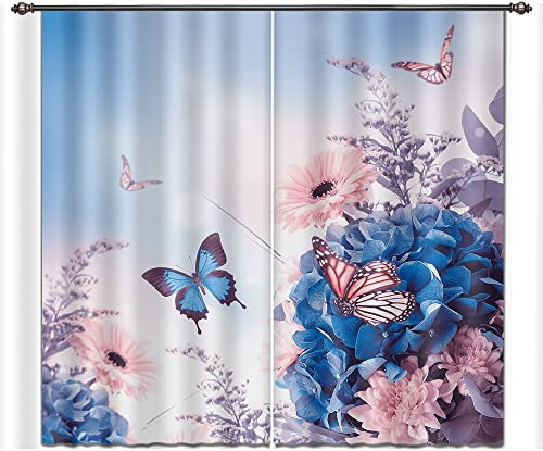 LB Nature Scenery Window Curtains for Bedroom Living Room,Butterfly on The Blooming Flowers Teen Kids Room Darkening 3D Blackout Curtains Drapes 2 Panels,42 x 84 Inches