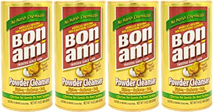 Bon Ami Powder Cleanser for Kitchens & Bathrooms - All Types of Surfaces, Cleans Grime & Dirt, Polishes Surfaces, Absorbs Odors (4 Pack) best natural kitchen cleaning products