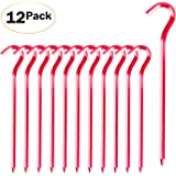 FANBX F Tent Pegs - 12Pcs Aluminium Tent Stakes Pegs with Hook - 7'' Hexagon Rod Stakes Nail Spike Garden Stakes Camping Pegs for Pitching Camping Tent, Canopies