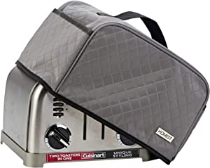 HOMEST Toaster Dust Cover with Pockets Compatible with Cuisinart 4 Slice Toaster, Can Hold Jam Spreader Knife & Toaster Tongs, Dust and Fingerprint Protection, Grey