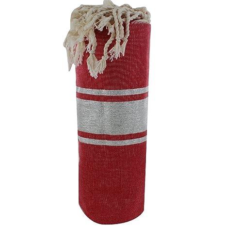 LES POULETTES FUTA Toalla de Playa Algodón Rojo Oscuro y Rayas Lurex Plata 100 x 200cm